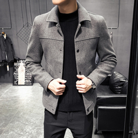 2019 autumn and winter new woolen jacket men's trend solid color lapel material coat youth Korean casual slim coat