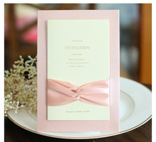 High Quality Invitation With Ribbon Many Colors 124*182mm Wedding Cards