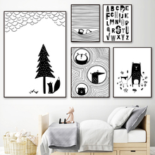 Black and White Mouse Fox Cartoon Wall Art Print Canvas Painting Nordic Posters And Prints Pictures Baby Kids Room
