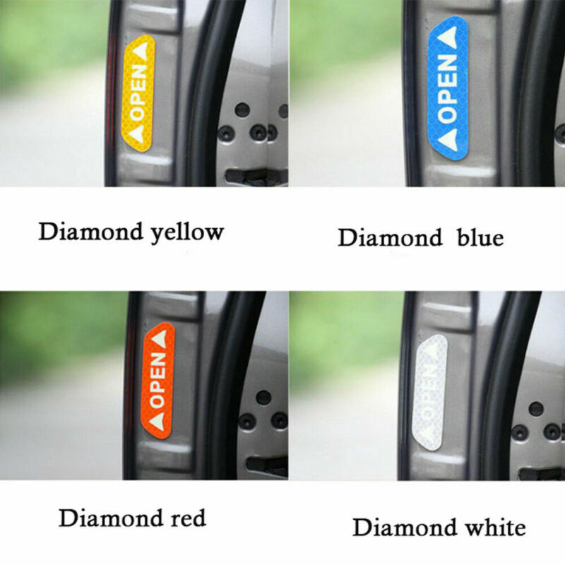 4 Universal Auto Car Door Open Sticker Reflective Tape Safety Warning Decal 3