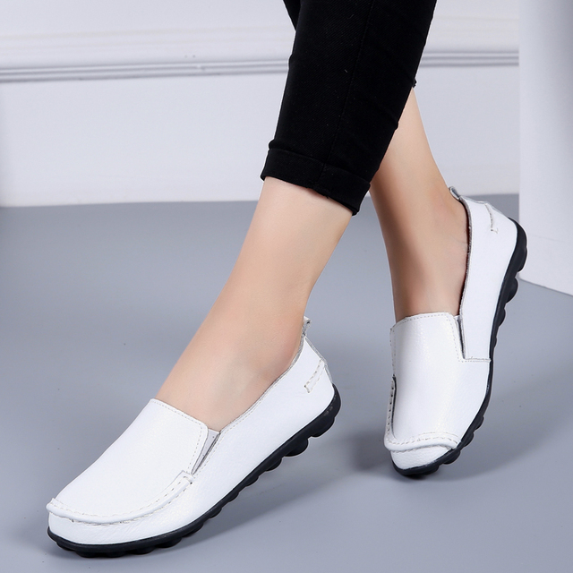 Women  Leather Shoes White Soft Slip-on Moccasins Ladies Casual Shoes 1