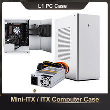L1 Mini-Itx/Itx Computer Case Aluminium Desktop Htpc Chassis 1U Flex Voeding USB3.0 Home Theater Pc game Kleine Case