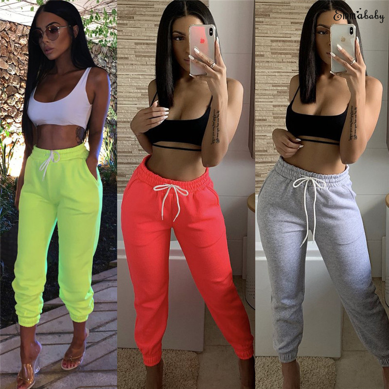Womens Ladies Joggers Tracksuit Bottoms Trousers Slacks Gym Jogging Sweat Pants Jogger Pants Drawstring Elastic Waist Trousers