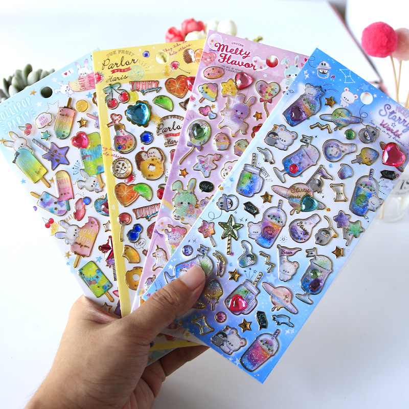 1pcs Kawaii Stationery Stickers Bronzing Cute Crystal Diary Planner Decorative Mobile Stickers Scrapbooking DIY Craft Stickers