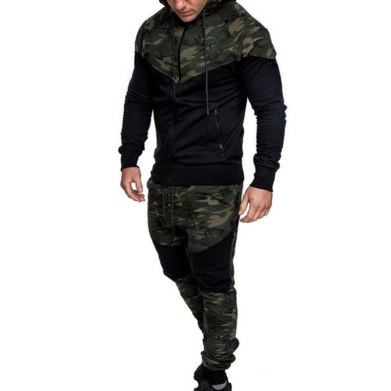 2020 Men Causal Camouflage Print Sets Camo Jacket+Pants 2Pc Tracksuit Sportwears Hoodies Sweatshirts &Pant Suit Plus Size