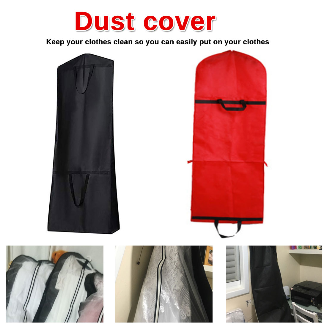Portable Zip Clothes Storage Breathable Dust Proof Bag Folding Wedding Dress Dust Cover Bags Garment Non-woven Print