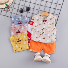 2019 children summer new cotton vest shorts two-piece suit baby boys model