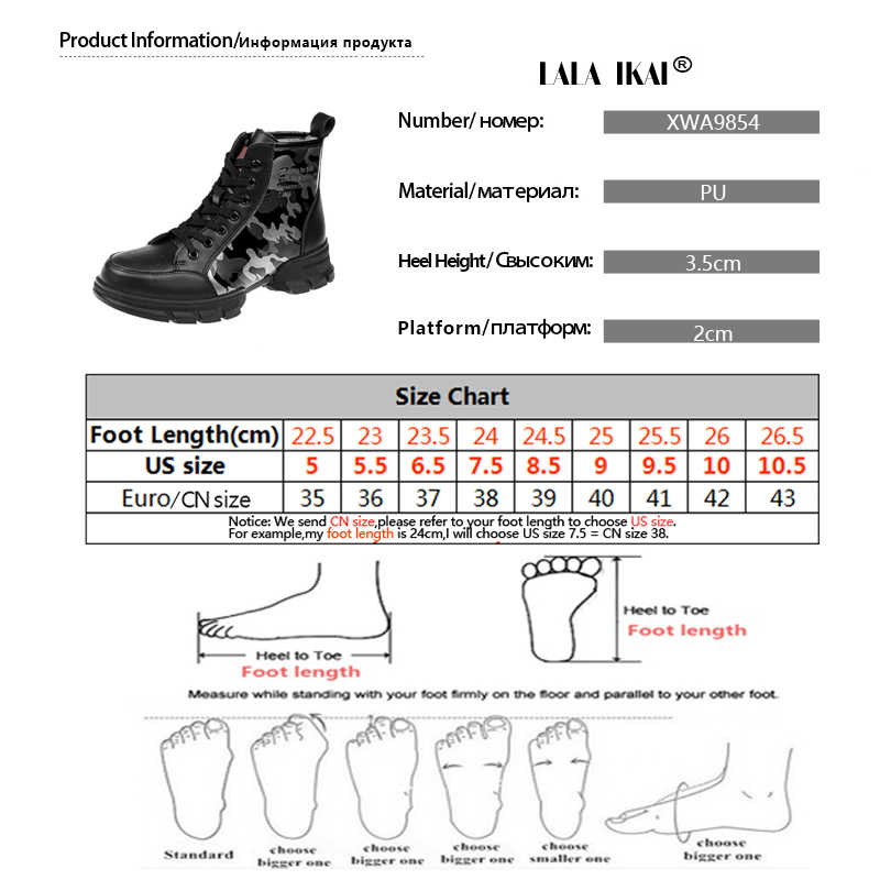 LALA IKAI Camouflage Enkellaarsjes 2019 Winter Herfst Warm Ronde Neus Platform Snowboots PU Leer Zapatillas Mujer XWA9854-4