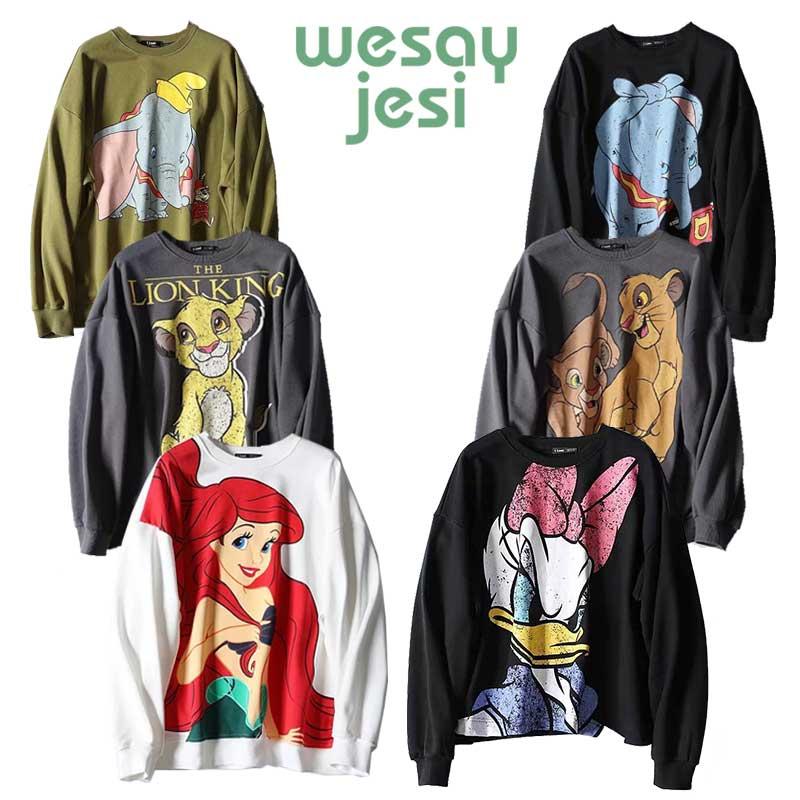 2019 Women Cartoon Mermaid Print Women Casual Pullover Long Sleeve O-neck Sweatshirt Girl Cute Loose Womens Hoodies Pullover