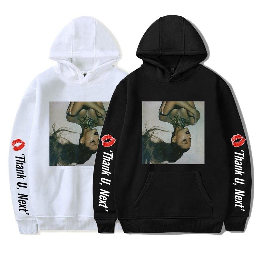 2019 Men Women Hoodie Ariana Grande Thank U Next Sweatshirts Hoodies Hip Hop Winter Warm Long Sleeve Hoodies Plus Loose Garment