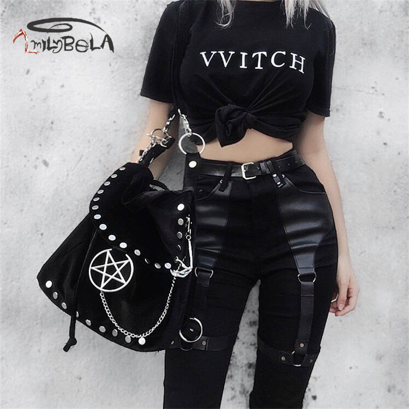 Imily Bela Casual Gothic Pants Women Halloween Sexy Leather Blet Patchwork Mid Cargo Pants Black Full Length Trousers Streetwear