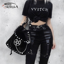 Imily Bela Casual Gothic Pants Women Halloween Sexy Leather Blet Patchwork Mid Cargo Black Full Length Trousers Streetwear