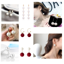 MeiLD Simulated-pearl Round Women Dangle Earrings Shiny Circle Pearl Ball Bead Pendant for Gift