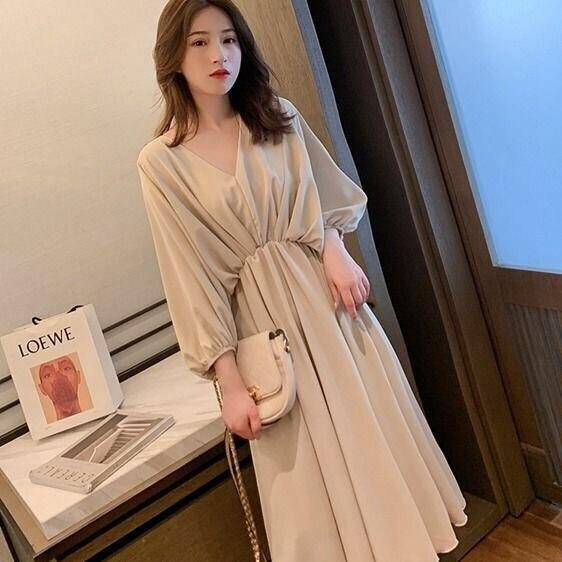 Женское шифоновое платье в стиле ретро, повседневное элегантное платье средней длины с рукавом средней длины, свободное платье, весна-лето ...