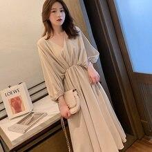 Casual chiffon feminino elegante retro tendência meados de manga primavera verão vestido de comprimento médio 2021 novo vestido solto