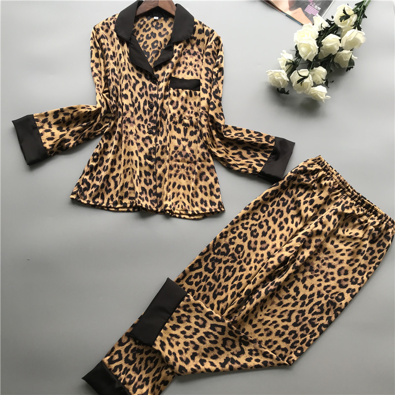 Print Leopard Women 2PCS Top&pants Long Sleeve Turn-down Collar Pajamas With Lace Patchwork Autumn New Lounge Softy Sleep Suit