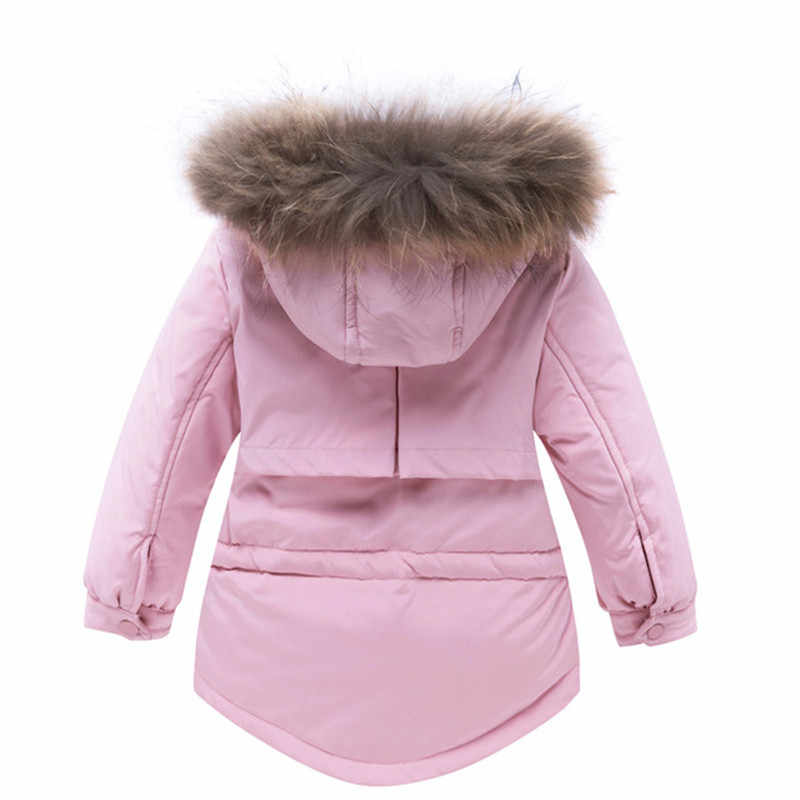 -30 Degrees Infant Baby Cold Winter Warm Ski Suit Baby Kids Big Real Fur Collar Hooded White Duck Down Jacket+Pant Baby Ski Set