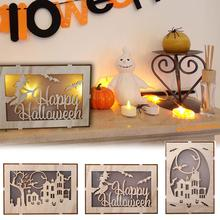 Wooden Halloween Square Computer Laser Hollow LED Lights Home Decoration Holiday Three-dimensional Ornaments