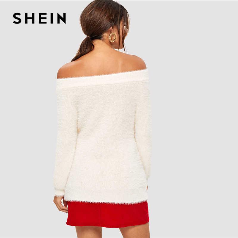 SHEIN blanco sólido fuera del hombro elegante suéter borroso mujeres Tops 2019 invierno manga larga suéteres básicos para oficina señoras