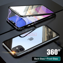 360 Full Body Phone Case For iPhone 11 Pro Max Covers Magnet cases Cases Cover Metal Bumber
