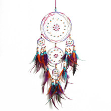Nordic Feather Dream Catcher ตกแต่งห้อง Handmade Fairy Wind Chimes (China)