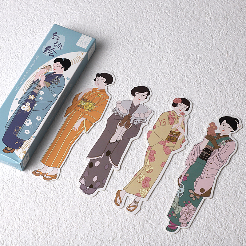 30 Pcs/Set Beautiful Kimono Girl Paper Bookmark Cartoon Book Holder Message Card Gift Stationery