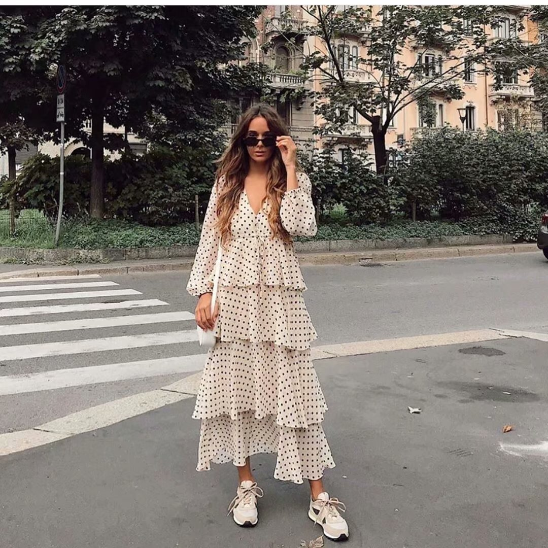 New Womens Polka Dots Maxi Dress Long Sleeve V Neck Cascading Ruffles Zora Vicky Dress Drawsring Long Winter Dress Vestidos 2019
