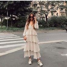 New Womens polka dots Maxi Dress long sleeve V neck cascading ruffles zora vicky