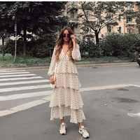 Nouveau femmes à pois Maxi robe à manches longues col en V en cascade volants zora vicky robe cordon longue hiver robe Vestidos 2019