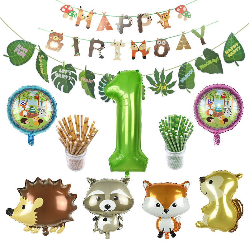 Jungle Party Animal Racoon Fox Squirrel Panda Balloons Zoo Theme Party Helium Balloon Banner For Happy Birthday Decoration Flags
