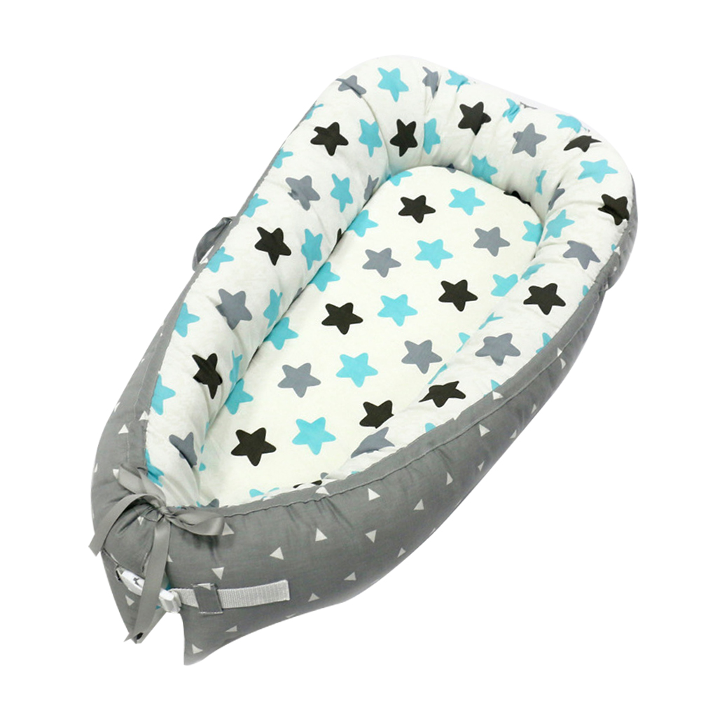80 * 50cm Baby Nest Bed Portable Crib Sleeping Nursery Travel Bed Infant Newborn Baby Bed Cradle Bumper Cotton Blended Washable