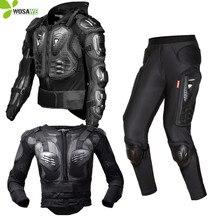 цена на Motorcycle Knee Pads Jacket Armor Long Pants Set Men Protective Gear Motocross Racing Moto Motorbike Chest Knee Protector