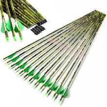 6 pces/12 pces linkboy tiro com arco de carbono camo setas espinha 300 - 600 id6.2mm arco composto caça arco e flecha tiro