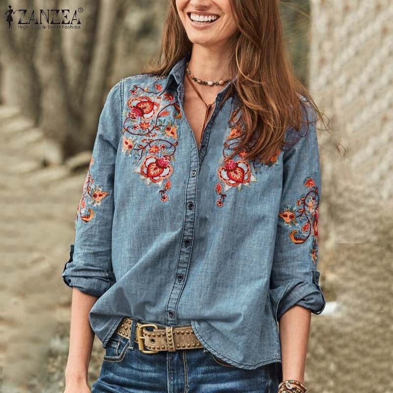 2019 ZANZEA Women Denim Blue Blouse Autumn Floral Embroidered Long Sleeve Shirts Female Tunic Tops Button Down Blusas Party Top
