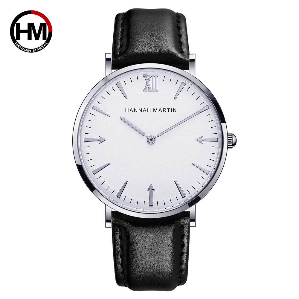 Hannah Martin Ladies Watches Luxury  Brand Minimalism Watch Men Women Leather Strap Womens Wristwatch Gifts For Lover Reloj