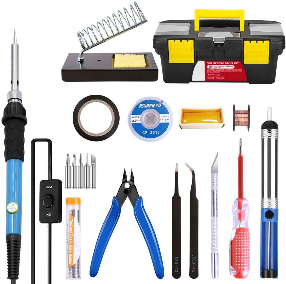 11 en 1 Kit de Herramientas de Asistencia de Soldadura con Bomba Desoldadora Mecha Soldadura Alambre Cortador de Cables ESD Pinzas Kit de Soldadura