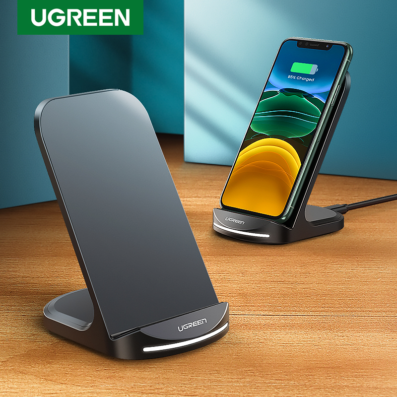 Ugreen צ 'י אלחוטי מטען Stand עבור iPhone 11 פרו X XS 8 XR סמסונג S9 S10 S8 S10E מהיר אלחוטי תחנת טעינת טלפון מטען title=