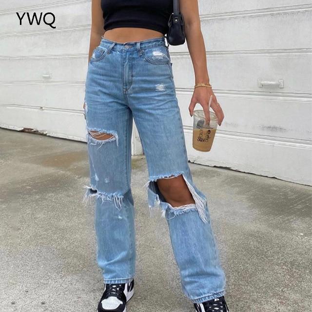 Baggy Jeans Straight Leg Ripped Jeans For Women Fashion Loose High Streetwear Women High Waist Pants Hole Boyfriend Trousers 2