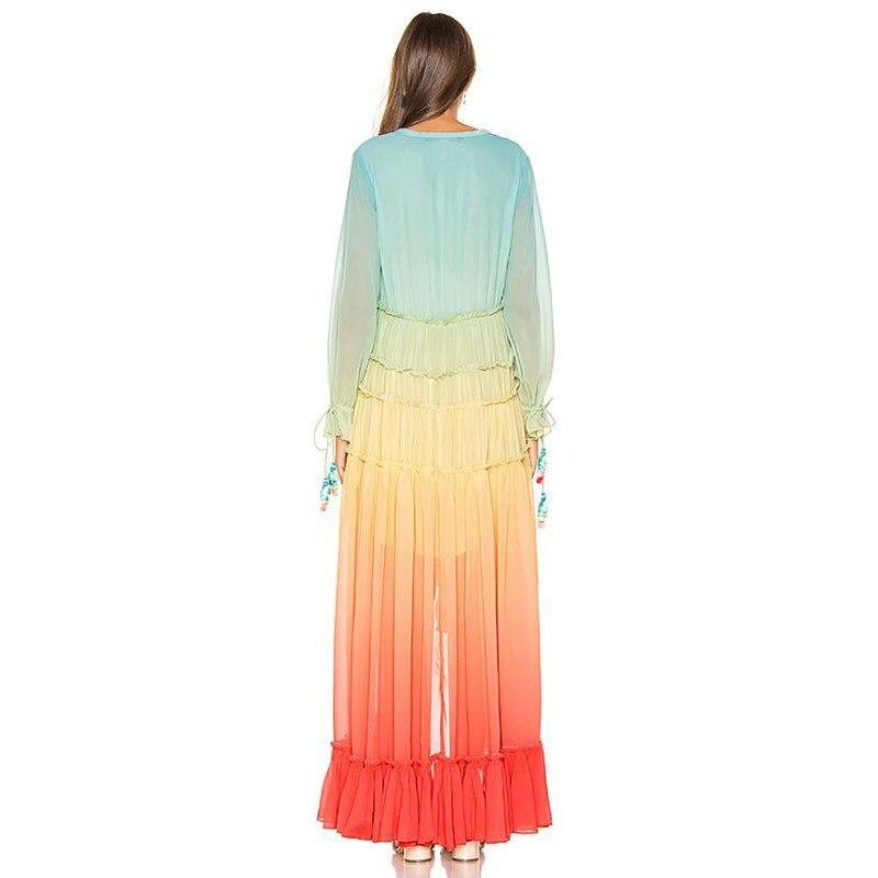 2019 femmes été arc-en-ciel dégradé bohème robe col en v à manches longues plage robe ample asymétrique maille Maxi robe - 6