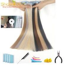ShowCoco лента в Пряди человеческих волос для наращивания натурального волос 20/40 шт, смешанные цвета, Цвет горячие головы для наращивания блеск коричневого до блондинка ленточных накопителей