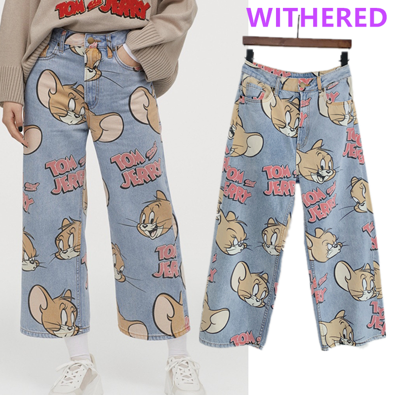 Withered 2020 Summer Jeans Woman England High Street Cartoon Cat Mouse Print High Waist Jeans Loose Straight Mom Jeans For Women