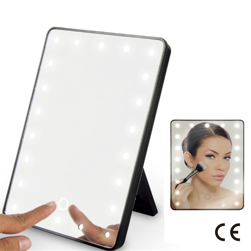 CE Certification USB Dual Purpose LED Make-up Mirror  Folding Mirror 360 ° Rotating Dressing Mirror