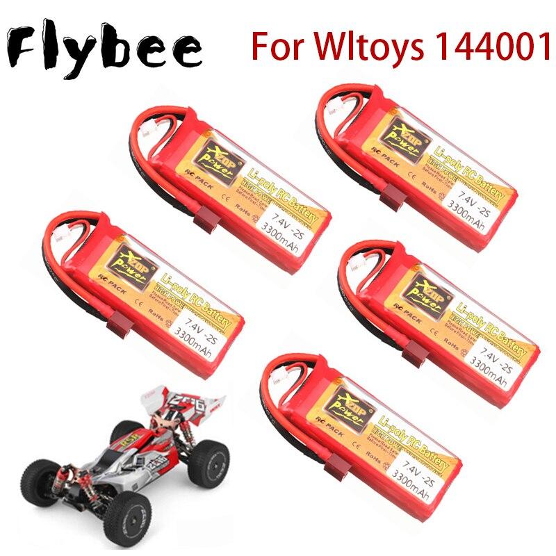 7,4 v батарея для Wltoys 144001 автомобиля 2s 7,4 V 3300mAh литий-полимерный аккумулятор T разъем для Wltoys 1/14 144001 пульт ДУ для дистанционно управляемой машин...