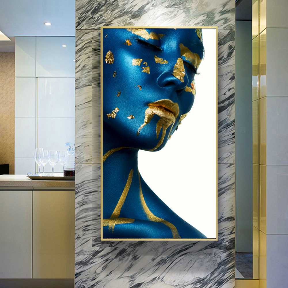Blue Golden Nude Woman Indian Headband Portrait Canvas Painting Posters and Prints Scandinavian Wall Art Picture for Living Room