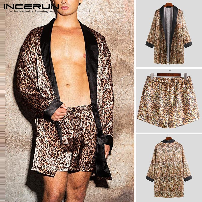 INCERUN 2019 Fashion Leopard Men Robes Sets Pajamas Comfortable Loose Sexy Homewear Long Sleeve Robes Shorts Men Sleepwear Sets