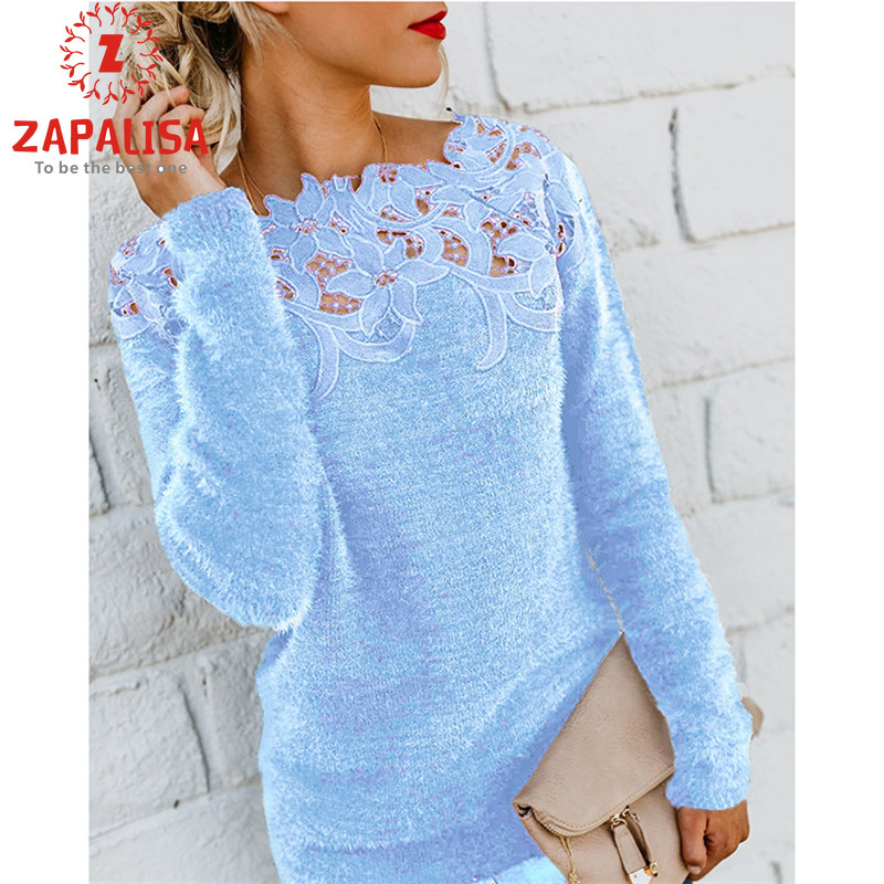 Elegant Lace Decor Long Sleeve Sweater Casual O Neck Solid Color Patchwork Streetwear Fashion Slim Autumn Winter Women Pullover