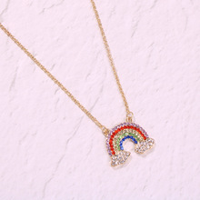 new fashion Sweet Rainbow Cloud Pendant Necklace women girls Colorful Crystal stone heart charm for Women female Girls