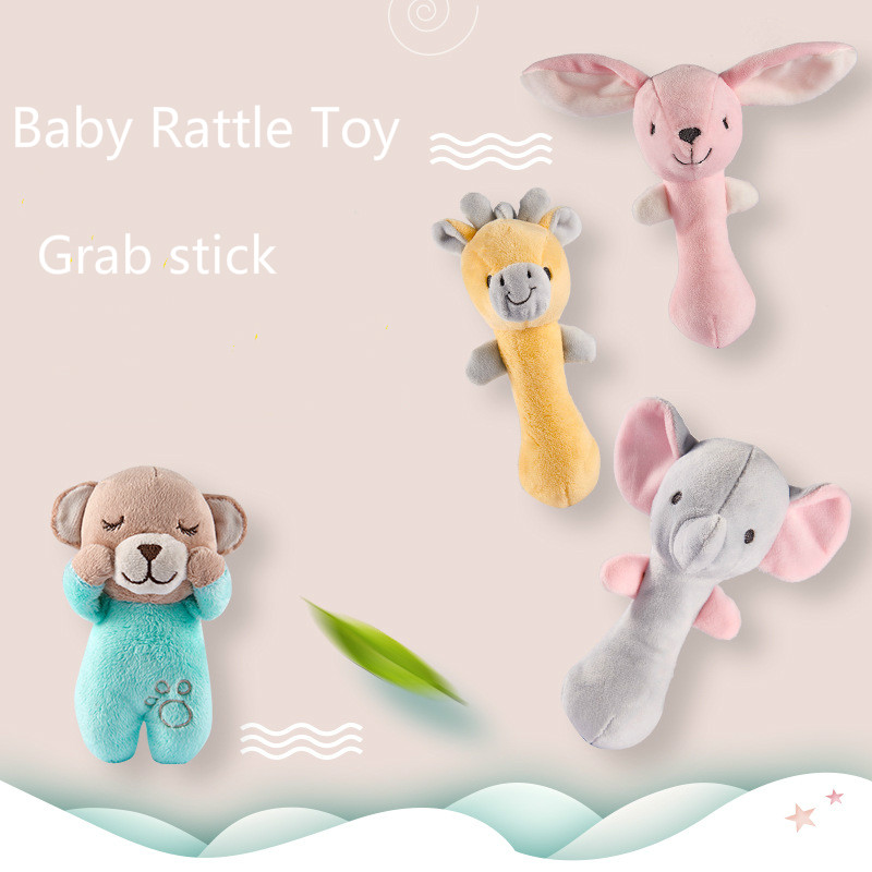 Baby Plush Stroller Toys for Baby Rattles Mobiles for Grab Stick Toy Cotton Sound Doll Soft Stuffed Animal Plush Popular Toys