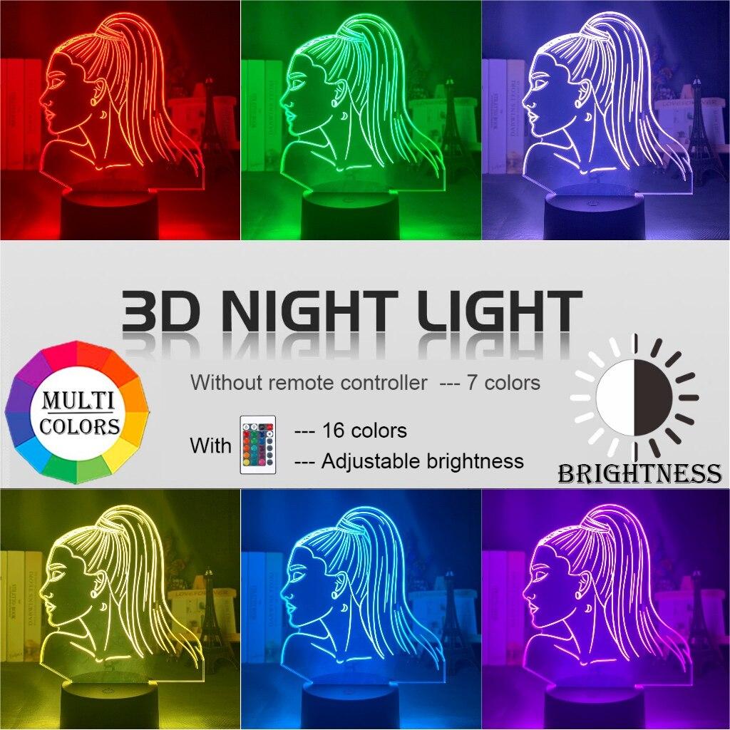 H9f147c671684457c8451dde08b2cd06aM Luminária Ariana Grande pop Luz noturna 3d, singer ariana, presente grande para ventiladores, decoração do quarto, luz led, sensor de toque, mudança de cor, lâmpada de mesa celebridade, celebridade