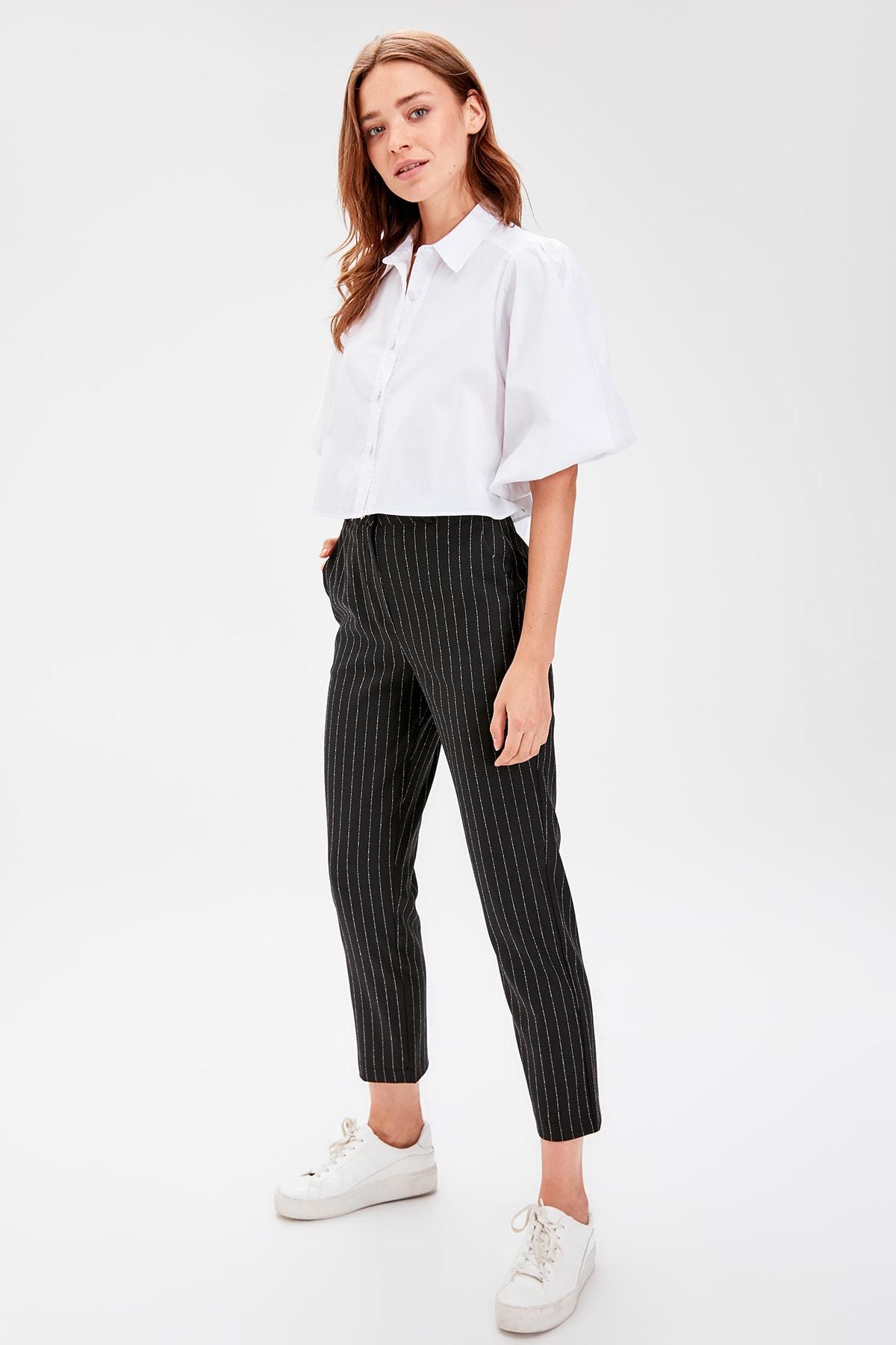 Trendyol Black Striped Pants TWOAW20PL0171
